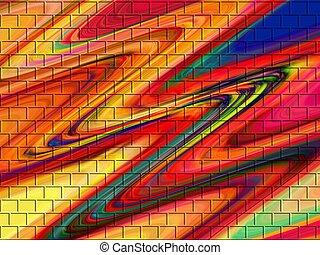 Dark Colored Bricks - Dark patterns of waves and bricks.