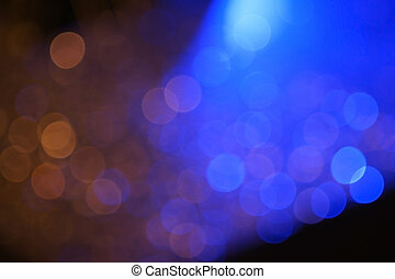 Dark colorful bokeh with blue light for nightlife concept