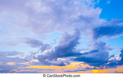Dark colorful stormy cloudy sky photo background .