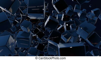 Dark composition with cubes with many highlights and moving focus. Motion graphics 3d looped animation as dark background in 4k with simple cubes and depth of field. 3