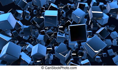 Dark composition with cubes with many highlights and moving focus. Motion graphics 3d looped animation as dark background in 4k with simple cubes and depth of field. 7