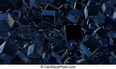 Dark composition with cubes with many highlights and moving focus. Motion graphics 3d looped animation as dark background in 4k with simple cubes and depth of field. 6
