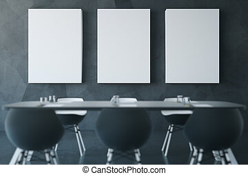 Dark conference room - Modern dark conference room with...