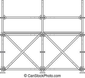 dark contour scaffolding illustration - vector dark grey...