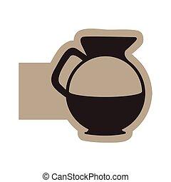 dark contour sticker water pitcher icon