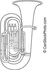 dark contour tuba music instrument vector illustration