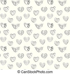 Dark contours linear hearts with cages, zigzags and horns background seamless vector pattern from the doodle hand.