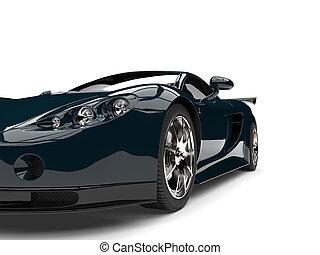 Dark coral blue modern fast super car - front view closeup cut shot