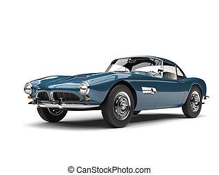 Dark cornflower blue vintage sports car