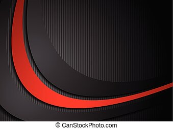 Dark corporate background with black red waves