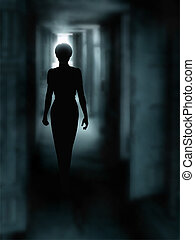 Dark corridor - Editable vector illustration of a woman's...