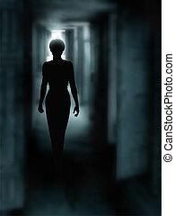 Dark corridor - Editable vector illustration of a woman's...