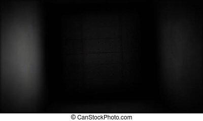 Dark corridor. Flying in a dark hallway