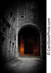 Dark courtyard (Edinburgh, Scotland)