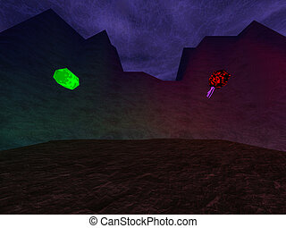 Dark crater with crystals in mountaints background