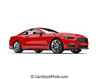 Dark crimson red modern sports muscle car