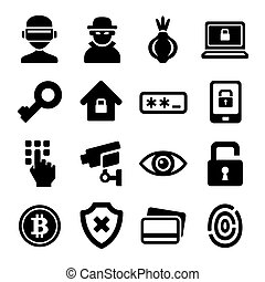 Dark Deep Internet and Security Icons Set. Vector
