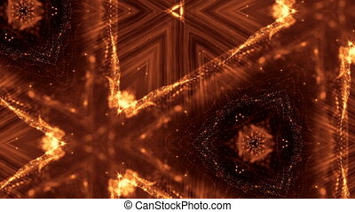 Dark digital abstract background with beautiful glowing particles. 3d render background with particles and depth of field. Loop animation, seamless footage. Red gold sci-fi structures 15