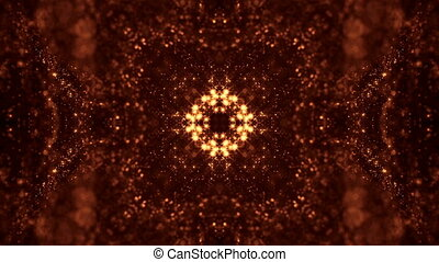 Dark digital abstract background with beautiful glowing particles. 3d render background with particles and depth of field. Loop animation, seamless footage. Red gold sci-fi structures 7