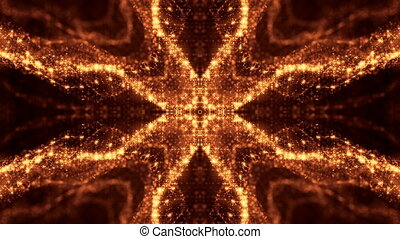 Dark digital abstract background with beautiful glowing particles. 3d render background with particles and depth of field. Loop animation, seamless footage. Red gold sci-fi structures 5