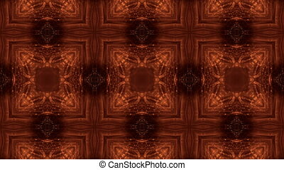 Dark digital abstract background with beautiful glowing particles. 3d render background with particles and depth of field. Loop animation, seamless footage. Red gold sci-fi structures 11