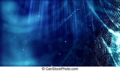 Dark digital abstract background with beautiful glowing particles. 3d render background with particles and depth of field. Loop animation, seamless footage. Blue space 3