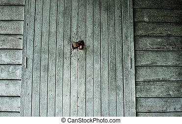 dark door in old haunted house, abstract retro