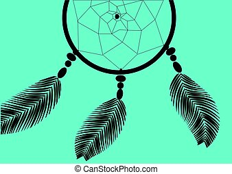 dark dreamcatcher on a blue background illustration