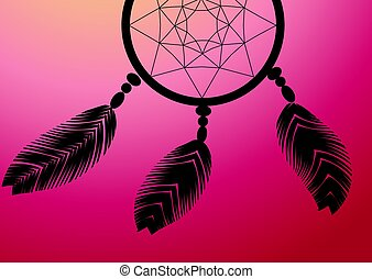 dark dreamcatcher on a sunset background illustration