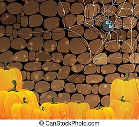 Dark dungeon. Halloween background - Pile of Halloween...