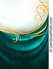 Dark emerald fabric curtain