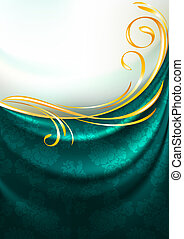 Dark emerald fabric drapes