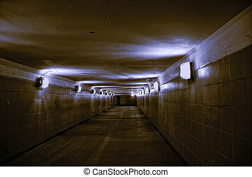 empty underground passage  - dark empty underground passage