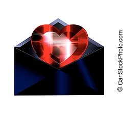 dark envelope and red heart