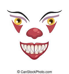 dark evil clown face halloween character