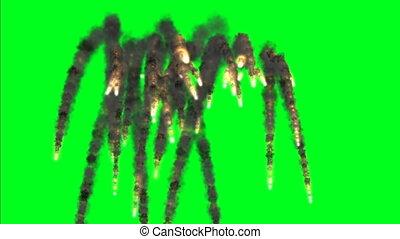 Dark Explosion On Green Screen