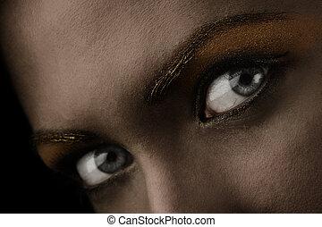 dark eyes close up - close up of stunning eyes in a dark...
