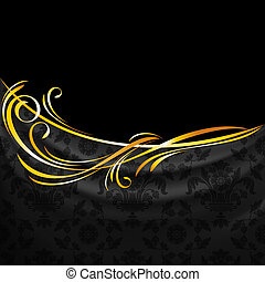 Dark fabric ornamental drapes on black background