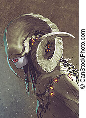 dark fantasy human creature with curled horns, illustration ...