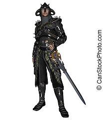 Fantasy Knight in black armour holding a sword, 3d digitally rendered illustration