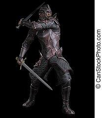 Dark Fantasy Knight with Two Swords