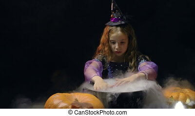 Dark Fantasy - Little girl with makeup in witch costume...