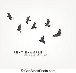 dark figures flying birds