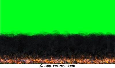 Dark Fire Flames Burn Movement On Chroma Key Green Screen