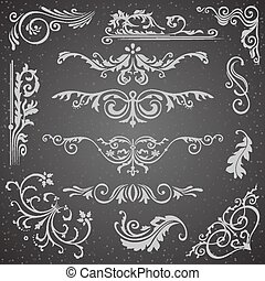 Dark Flourish Border Corner and Frame Elements Collection. Vector Card Invitation. Victorian Grunge Calligraphic. Wedding Invitations Set. Medieval Ornament Borders Silhouette