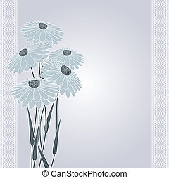 dark flowers on gray - dark flowers on abstract gray...