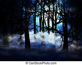 Dark foggy forest - Illustration of dark forest in a blue...