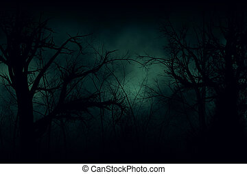 Dark forest - Dark Halloween forest with green fog...