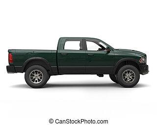 Dark forest green modern pick-up truck - side view