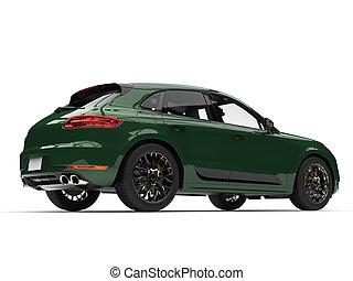 Dark forest green modern SUV - back side view